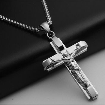 Big and Heavy Chunky Chain Silver Stainless Steel Jewelry New Men's Cross Pendant Necklace For Men.