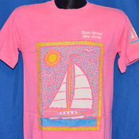 90s Stone Harbor New Jersey Sailboat Pink Puffy Paint t-shirt Medium