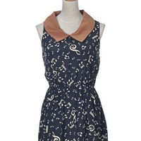 Anna-Kaci S/M Fit Cute Black Musical Note Pattern Collar Sleeveless Casual Dress