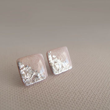 Light Pink Silver Square Stud Earrings - Hipoallergenic Surgical Steel Post