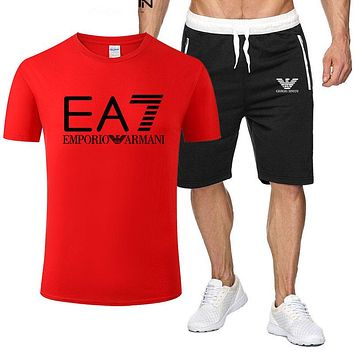 Armani Summer Popular Men Leisure Print Short Sleeve Top Shorts Sport Set Two Piece Red