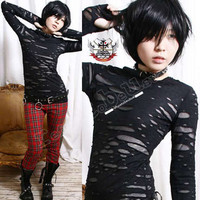 RTBU Goth Punk Mummy Corroded Sheer HOLE Shirt Mitten S M