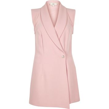 Light pink tux sleeveless wrap playsuit - Playsuits - Playsuits & Jumpsuits - women