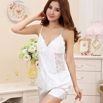 Ladies Sexy Silk Satin Pajama Set Lace Pyjama Set Sleeveless Pijama Set V-neck