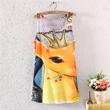 Print Sexy Stylish Sleeveless Round-neck Ladies Dress T-shirts [4919704708]