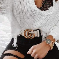 GUCCI men and women fashion tide brand classic smooth buckle belt