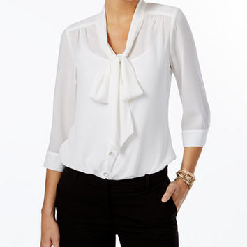 NY Collection Petite Tie-Neck Bow Blouse - Tops - Women - Macy's