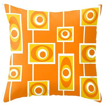 Modern Orange Outdoor Throw Pillow