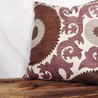 Suzani fabric in Fahri Grape Pillow Cover by whiteoakroom on Etsy
