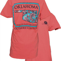Southern Couture Oklahoma Paisley State Pattern Girlie Bright T Shirt