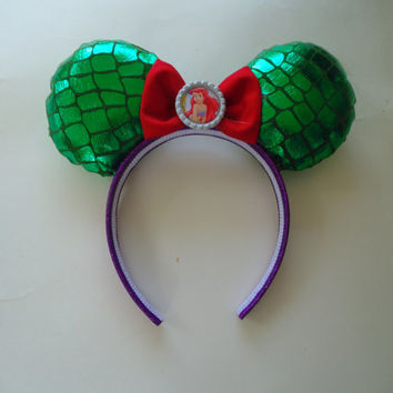 Disney mouse Ears / girls hair accessory / Ariel headband / ariel mouse ears / halloween / Disney inspired / mickey mouse ears / ariel hair