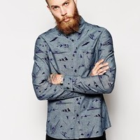 ASOS Shirt In Long Sleeve With Chambray Stencil Print