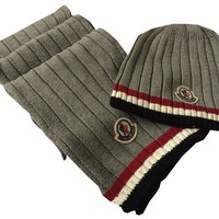 Moncler Fashion Beanies Knit Winter Hat Cap Scarf Scarves Set Two-Piece