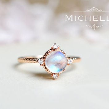 14K/18K Moonstone Galaxy Ring with Diamond, Star Moon Ring, Solid Gold Rainbow Moonstone Engagement Ring, Promise Ring, Blue Moonstone