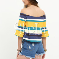 Multicolor Striped Off The Shoulder Half Sleeve Blouse -SheIn(Sheinside)