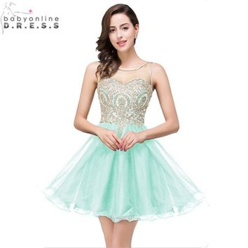 Vestido de Festa Curto Rreal Image Gladen Lace Mint Green Short Prom Dresses 2017 Cheap Chiffon Short Summer Evening Party Dress