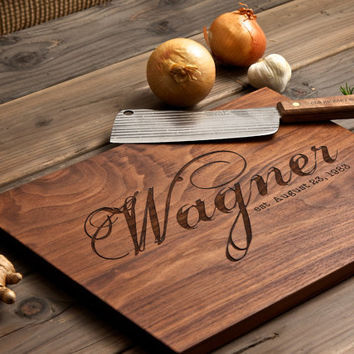 Personalized Engraved Wood Cutting Board - 12x16 - graphic family name - custom wedding or anniversary gift for foodie couple