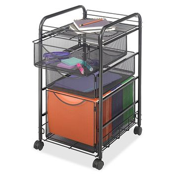 Black Metal Steel Mesh Mobile Filing Cabinet Cart with 2 Drawers & Wheels