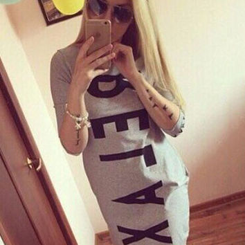 Letter Printed Half Sleeve A-Line Bodycon Dress