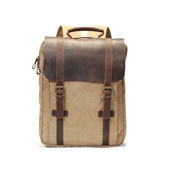 ECOSUSI  Vintage Canvas Leather Laptop Backpack