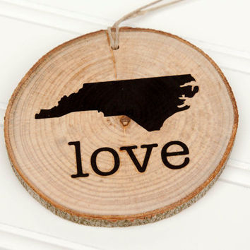 "North Carolina ""Love"" state shape Maple wood slice ornaments Set of 4.  Wedding favor, Bridal Shower, Country Chic, Rustic, Valentine Gift"