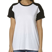 ALL ABOUT EVE COMPLEXITY WOMENS TEE - BLACK WHITE