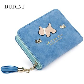 DUDINI Fashion Women Wallet Qute Dog Cartoon Tassels Scrub Ladies Wallet Splice Zipper Short Clutch Cion Pocket Card Holder