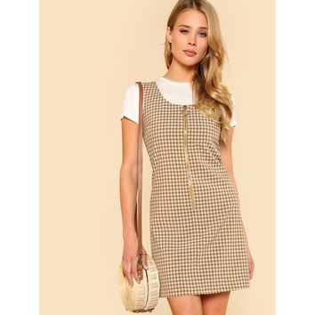O-Ring Zipper Front Plaid Overall Dress