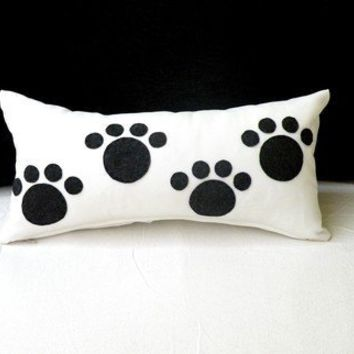 Soft Tiny Black Puppy Footprint Pillow by KETCHE on Etsy