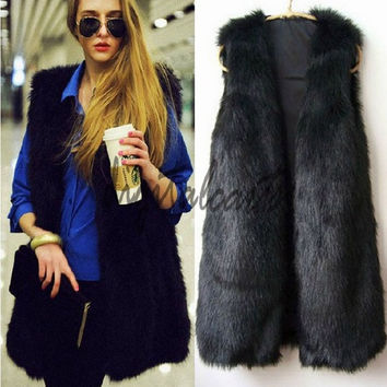 Autumn Spring and Winter High Imitation Fox Fur Vest Gilet Outerwear Womens  18820 = 1713308868