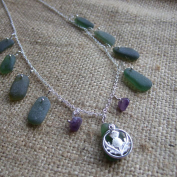 Scottish Thistle Necklace..Celtic Knot work inspired sterling silver 20'' necklace with sea glass in green, amethyst accents & thistle charm