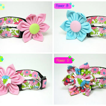 Pink Flower Floral Print Dog Collar with Flower set (Mini,X-Small,Small,Medium ,Large or X-Large Size)- Adjustable