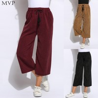 FANALA Women Wide Leg Pants 2017 Casual Solid Loose Pants Elastic Drawstring Waist Calf Length Wide Leg Pants Trousers Female