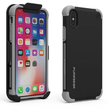 PureGear DualTek HIP Case for Apple iPhone X Cover Military Strengthen With Holster