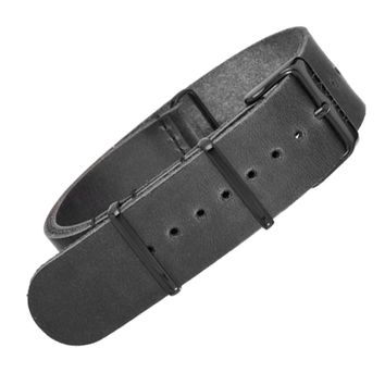 22mm Black Leather NATO - Black Buckle