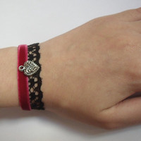 Red Heart Bracelet Black Lace Lolita Gothic Velvet