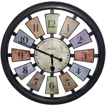 """Westclox 18"""" Round Colored Panels See-through Clock"""
