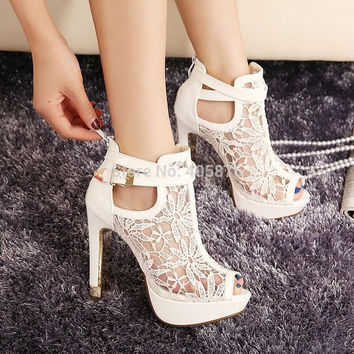 2015 New New Lace Women Platform Pums Sandals White Mesh Black High Heels Peep Toe Shoes = 1933158532