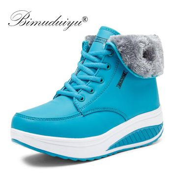 BIMUDUIYU Women Winter Boots Casual Lady Booties Platform Shoes High-top Height Increasing Women's Warm Shoes Winter Sneakers