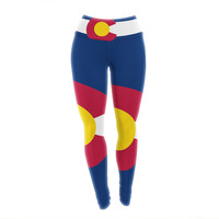 "Bruce Stanfield ""Flag of Colorado II"" Blue Red Yoga Leggings"