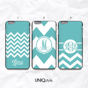 Mint Tiffany blue chevron zigzag personalized monogram case for iPhone 6 4/4s 5/5s 5c, Samsung s4 active, s5, s5 active - custom name - N45