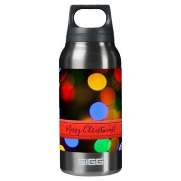 Multicolored Christmas lights. Add text or name. Insulated Water Bottle