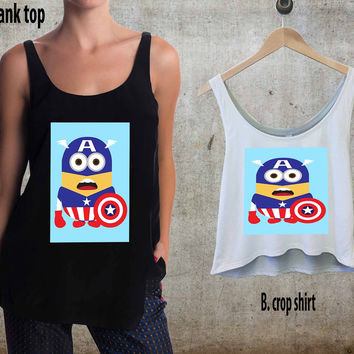minion captain america For Woman Tank Top , Man Tank Top / Crop Shirt, Sexy Shirt,Cropped Shirt,Crop Tshirt Women,Crop Shirt Women S, M, L, XL, 2XL**