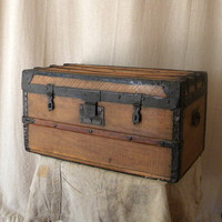 Vintage wooden chest French country decor by lapomme on Etsy