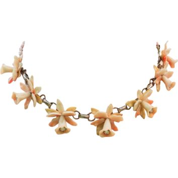 Celluloid Peach Flower Necklace w Earrings 1930s Vintage Jewelry