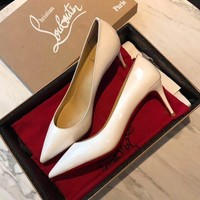 Christian Louboutin Cl Pumps Kate White Heel Height 8cm - Best Online Sale