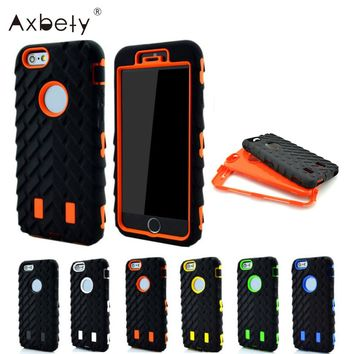 Axbety Case For iPhone 6S Case Tire Dual Layer Hard PC + Silicone Full Edge Protect Cover For Apple iphone 6 Hybrid Shockproof