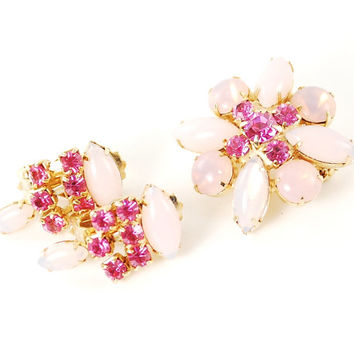 Vintage 1960s Pink Opal Glass Moonstone Rhinestone Brooch and Clip-on Earrings Jewelry Set