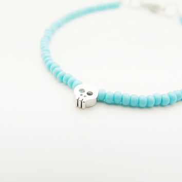 Tiny Skull Turquoise Bracelet, rhodium matte silver skull with turquoise opaque czech seed beads