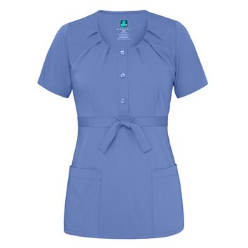 Scoop Neck Pleated Top (Ceil Blue)